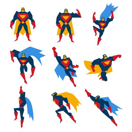 Super héroe en diferentes poses, ilustración vectorial conjunto Foto de archivo - 46463569