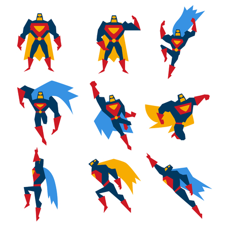 cartoon superhero: Super hero in different poses, vector illustration set Illustration
