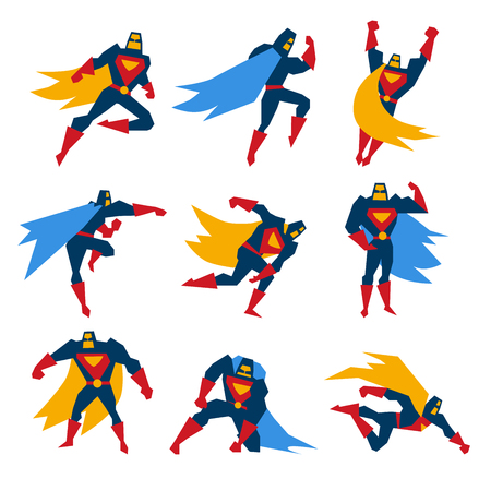 Super hero in different poses, vector illustration set Vectores