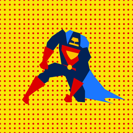 marvel: Just landed super hero from comics in flat style, vector illustration Illustration
