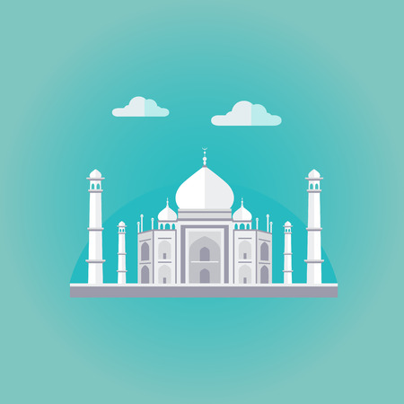 india: Vector illustration of Taj Mahal an ancient Palace in India