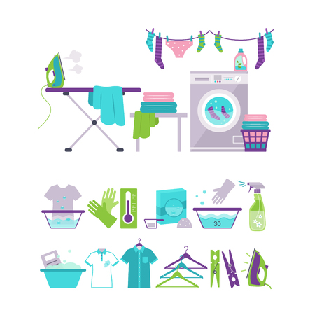 maquina de vapor: Conjunto de lavandería y lavado iconos vector colección de ilustración de estilo plana Vectores