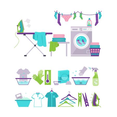 Set van wasgoed en wassen iconen vector illustratie collectie in vlakke stijl