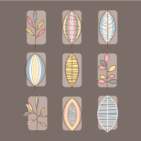 illustration collection: Set of leaves icons vector illustration collection, linear style