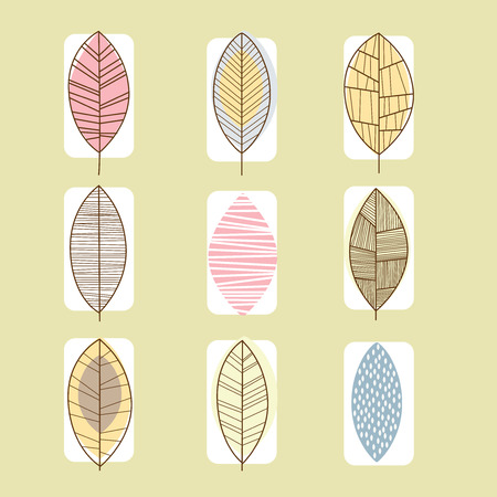 illustration collection: Set of leaf icons vector illustration collection, line design