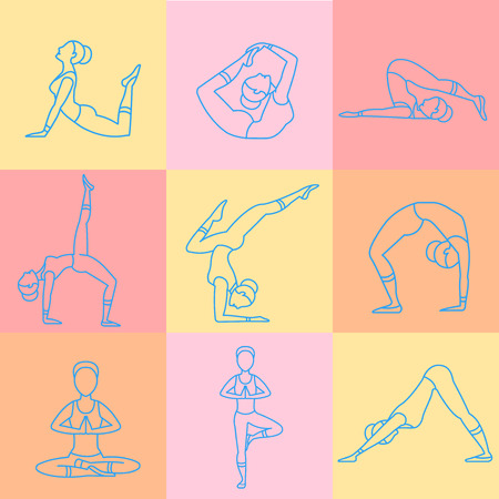 aerobics class: Women doing sport and aerobic exercises. Linear style vector illustrations