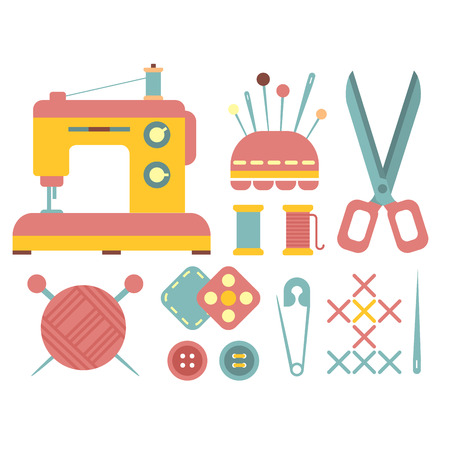 sewing machine: Set of accessories for sewing and handmade paper card with dressmaking accessories. My hobby - lettering