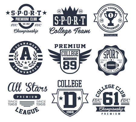 college football: Black and White Sport Emblems Logos Vector Illustration Set