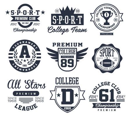 colegios: Blanco y Negro emblemas del deporte Logos Vector Conjunto de ilustraciones Vectores