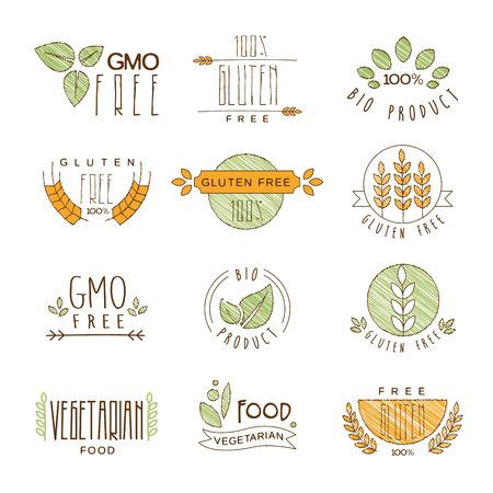 food allergies: Set of Natural Organic Icons, Labels and Badges, collection of vector illustrations