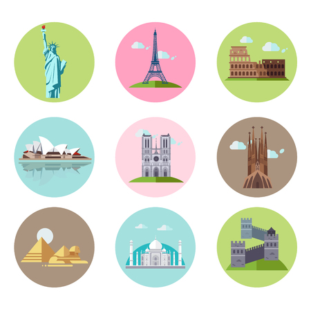 illustration collection: Set of national sights of different countries in flat style. Vector illustration collection