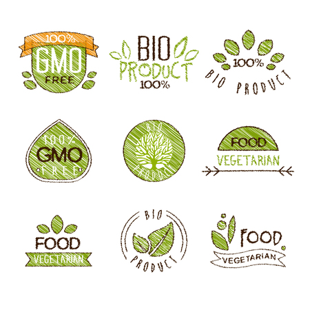 Collection of Natural Organic Labels and Badges, set of hand drawn vector illustrations