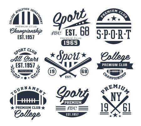 illustration collection: Set of monochrome sport emblems vector Illustration Collection.