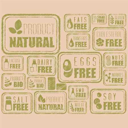 soy free: Set of Natural Organic Labels and Badges, collection of vector illustrations