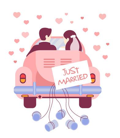 Ilustración vectorial de Recién casados ??en el coche Ilustración de vector