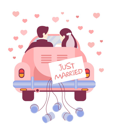 Vector illustration of Just married on car