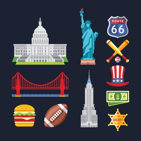 Conjunto de símbolos tradicionales de la arquitectura y la cultura de los EE.UU.. Ilustraciones del vector en estilo plano