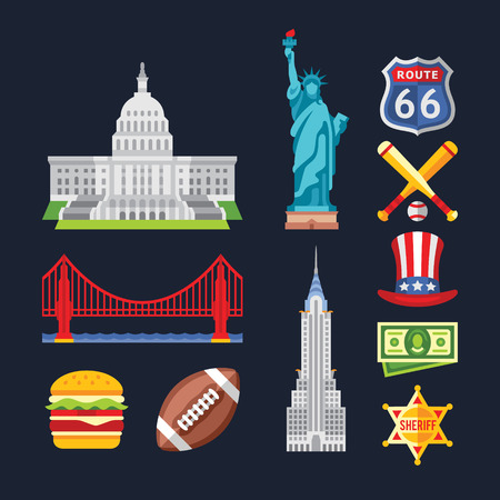 flags usa: Set of traditional symbols of architecture and culture of the USA. Vector illustrations in flat style