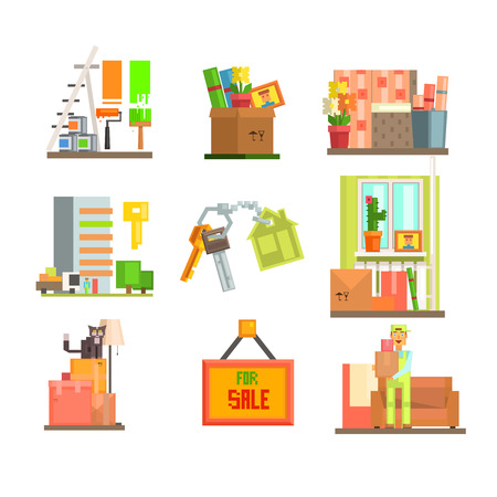 porter house: Set of colourful home repair and moving web icons in flat design. Vector Illustration Illustration