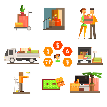 home moving: Set of colourful home moving and repair web icons. Flat design. Vector Illustration Illustration