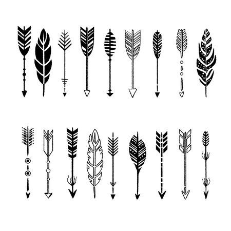 indian artifacts: Set of black and white arrows, hand-drawn design elements, vector illustration collection
