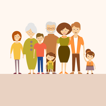 Vector illustration of a happy big family in a flat style. Illustration