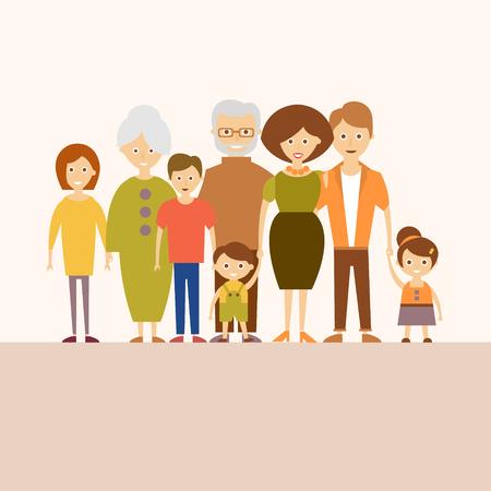 Vector illustratie van een gelukkige grote familie in een vlakke stijl. Stockfoto - 46453630