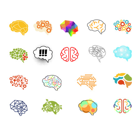 Set of brain vector illustration sign set