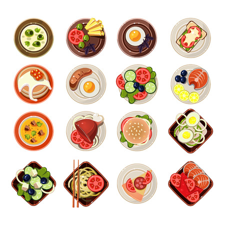 Set of served food in dishes. Vector illustration collection in flat design Stock Vector - 46453586