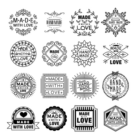 Vector illustration set of linear badges and logo design elements - hand made, made with love and handcrafted Vectores