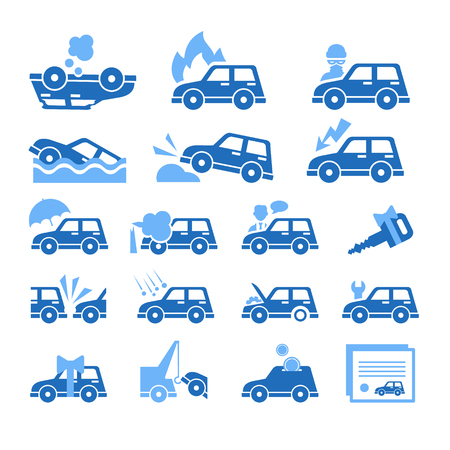 auto accident: Set of flat style car insurance icons.  Illustration