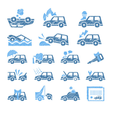 car theft: Set of flat style car insurance icons.