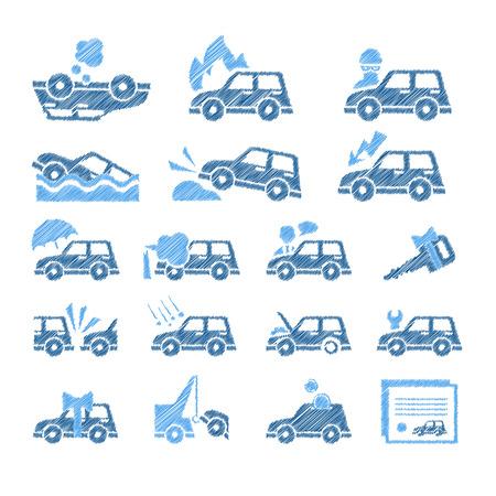 demolishing: Set of flat style car insurance icons.
