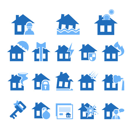 implosion: Property insurance icon set. illustration in flat design