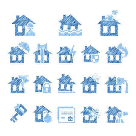 property insurance: Property insurance icon set. illustration in flat design