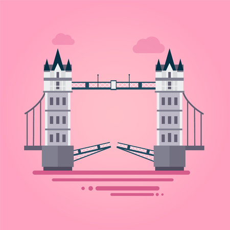 london tower bridge: Vetor illustration of London Tower Bridge in flat style