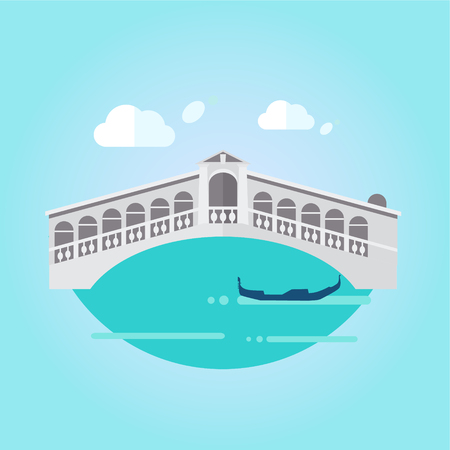 venice canal: Illustration of Venice bridge on water and gondola