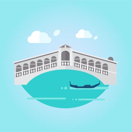 bridge: Illustration of Venice bridge on water and gondola