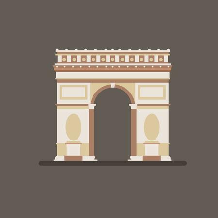 Illustration of Arch of Triumph in flat design Illustration