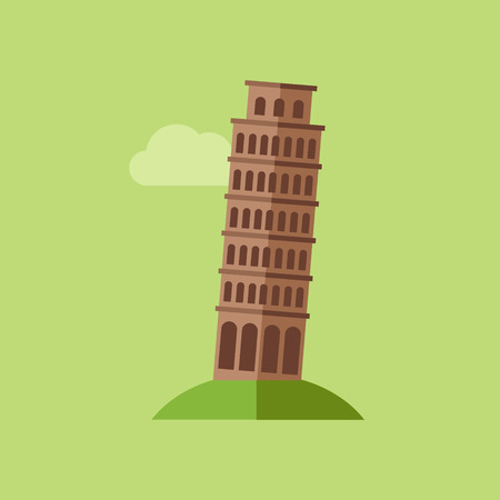 Icon of the Tower of Pisa in flat design