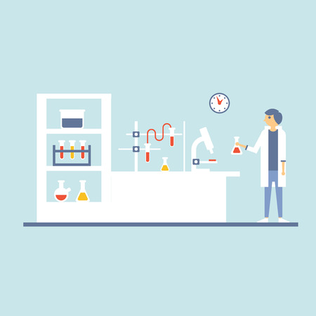 molecular biology: illustration of Healthcare Laboratory Testing Cabinet in Flat Design