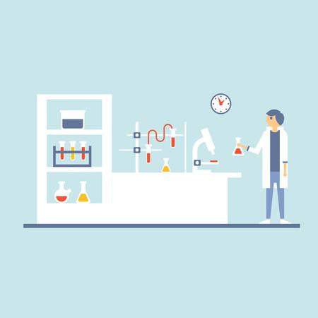 laboratorio clinico: ilustración de Salud Laboratorio de Ensayo de Gabinete en Diseño plana