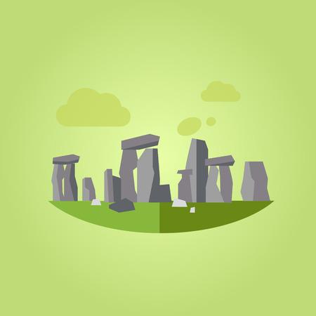 stonehenge: Illustration of Stonehenge, flat style concept