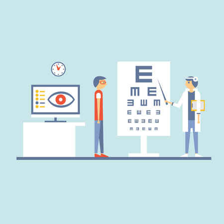 ophthalmologist: Ophthalmologist cabinet illustration. An ophthalmologist examining a patient in a cabinet
