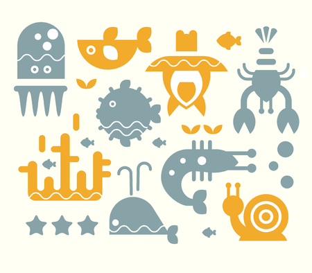 flounder: Collection of sea animals in flat style