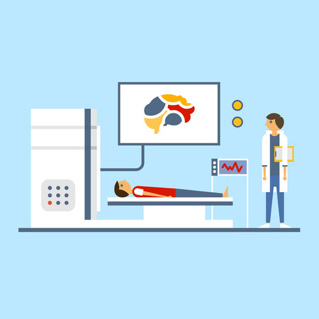 xray machine: Doctor scanning patient brain, illustration in flat style Illustration