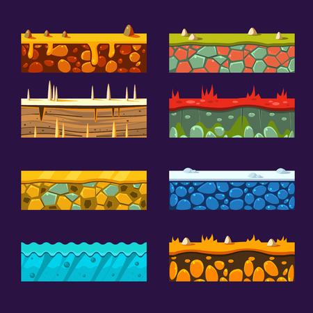 ice brick: Textures for Platforms, Set of Illustrations Illustration