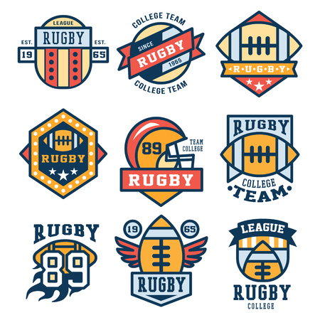 illustration collection: Set of Rugby club emblems in flat design, illustration collection