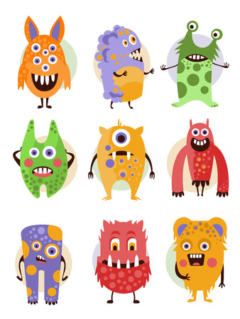 monster face: Set of cartoon monsters in a flat style. Collection of emotional creatures.