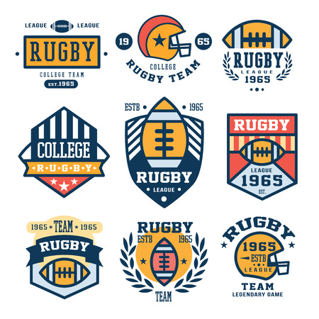 rugby team: Collection of Rugby club emblems in flat design, illustration set Illustration